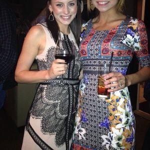 Tan & Black Lace Dress